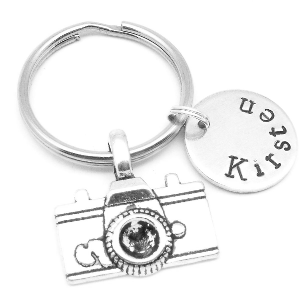 Camera gift name keyring personalised disc